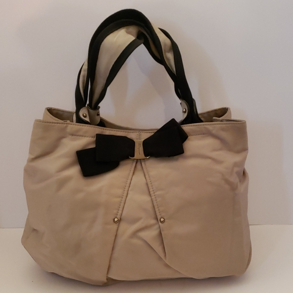 Salvatore Ferragamo Handbags - Salvatore Ferragamo tan nylon bow tote
